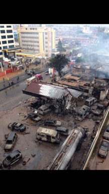 Gas station after the blast and fire